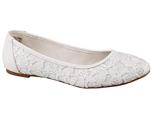 Greatonu Klassische Damen Ballerinas Party Schuhe Schleife Freizeit Schuhe Weiss Größe 39 ()