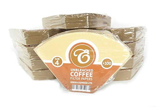 1000 Size 4 Coffee Filter Paper Cones Unbleached By Edesia Espress