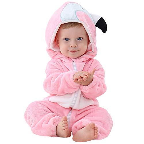 MICHLEY Baby Unisex Flanell Babykleidung, mädchen und Junge Pyjama kostüm Bekleidung für Kinder von 2-5 Monaten,Rosa (Baby Tragen Biene Kostüm)