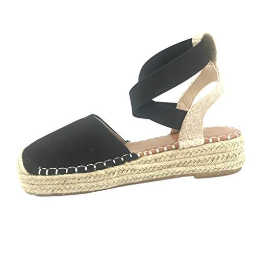 Yu'ting - scarpe moda espadrillas sandali comfortable comodo maneggevole eleganti donna basic basic con paglia tacco zeppa 5 cm