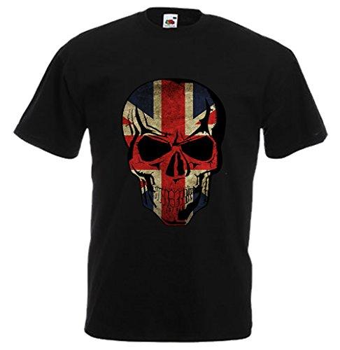"""Biker T-Shirt Orginal USA Motiv """"England /Großbritannien / Vereinigtes Königreich"""" Fun Rat Motorrad Schwarz"""