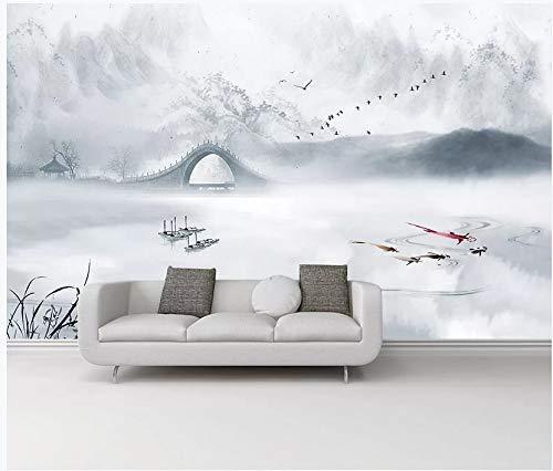 Tapete Wandaufkleber 3D Gestrick Tusche Gemälde Jiangnan Jahre Fischerboote Neue Chinesische Hintergrund Wand Dekorative Gemälde 300x210cm (Jahr-dekorationen Neues Machen Chinesische)