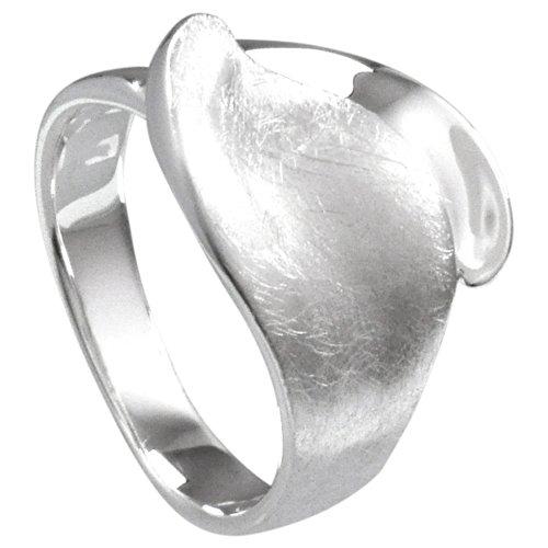 Vinani Ring Blatt gebürstet glänzend Sterling Silber 925 Größe 60 (19.1) RBT60