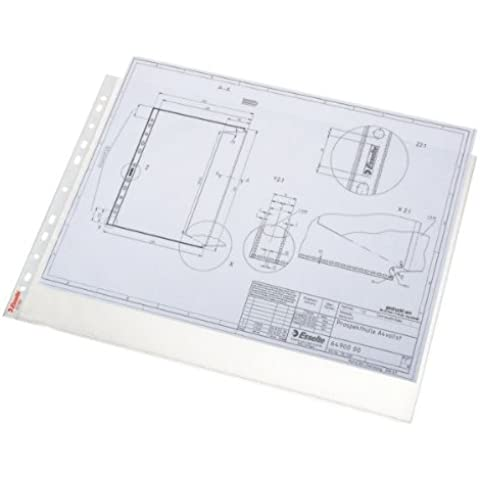 Esselte 55230 - Funda para documentos (polipropileno, multiperforado, apertura superior, 75 micras, A3), bolsa de 50, apaisado