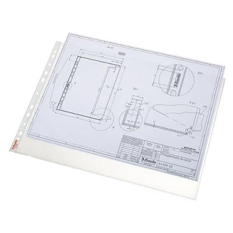 Esselte Pochette Perforée, Transparent, Grainé, A3 Paysage, Polypropylène 85 Microns, Lot de 50, 55230