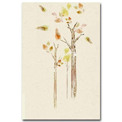 Djkaa Hirsch Tier Wandbild Blume Baum Pflanze Blätter Leinwand Poster Kunstdrucke Nordic Minimalistischen Stil Malerei Wanddekor (Mit Rahmen)