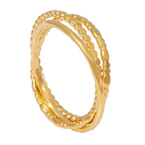 Charlotte Wooning Ring Damen Gold Thick Three 3 in 1 Bandring Stapelring vergoldeter Ring aus 925 Silber Größe 56 WOO-RTTg-56