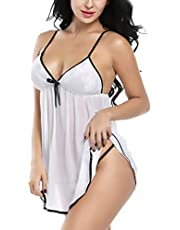 Xs and Os Women Lace Cup Babydoll Nightwear Lingerie with Panty