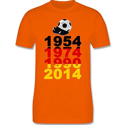 Fußball - 1954, 1974, 1990, 2014 - WM 2014 Weltmeister Deutschland - Herren Premium T-Shirt Orange