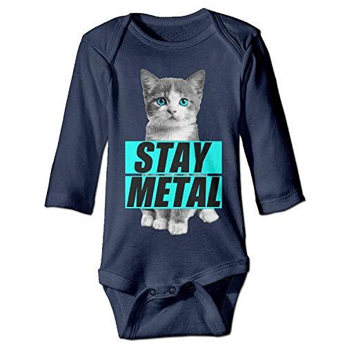 Unisex Toddler Bodysuits Stay Metal Cute Cat Girls Babysuit Long Sleeve Jumpsuit Sunsuit Outfit Navy
