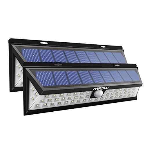 Solarleuchte 54 LED Superhelle Solarlampe Außen mit Bewegung, IP65 Wasserdicht Wandleuchte 120° Drehbar Dual Lichtkopf und Solar Panel Sicherheitslicht für Garten Balkon Auffahrt Garage (2 Stücke)