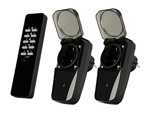 Trust Smart Home Outdoor Radio prese Set AGDR2-3500R-due interruttore Wireless con presa per esterni con telecomando, Plug and Go, 1000W, colore nero, 71038