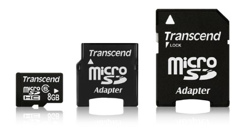 Foto Transcend MicroSDHC 8GB Scheda di memoria  con 2 Adattatori (SD e MiniSD)