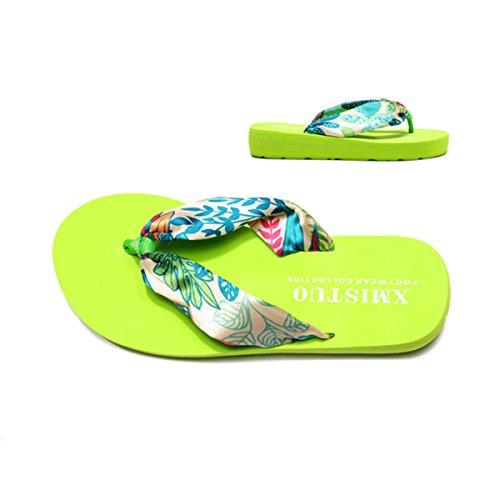 Butterme Femmes Bohème Floral Sandales Dété Plage Chaussures Sandale Wedge Plate-forme Accueil Tongs Pantoufles vert
