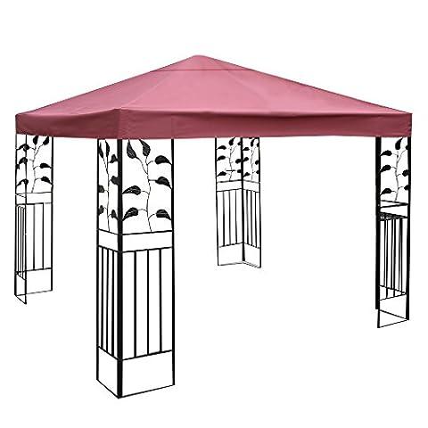 Costway 3x3m Garden Gazebo Top Cover Roof Replacement Tent Canopy Fabric 1-Tier 2-Tier (Beige / Dark Green / Red) (1-Tier,