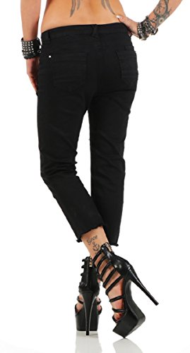 3865 Fashion4Young Damen Caprihose Capri Hose Sommer Hose Pants 7-schwarz