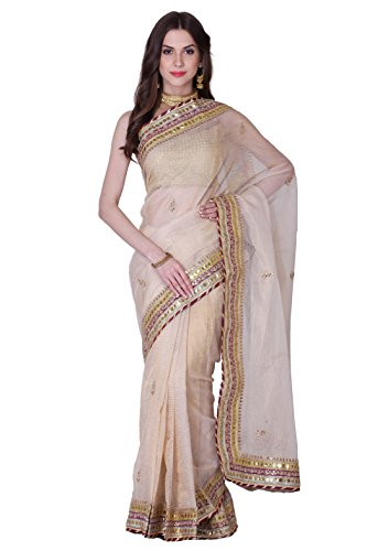 Golden kota tissue saree embellished with Gotta-patti & Magzi border