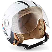 SOXON SK-55 Kids Fun White · Casco Jet Bambino Chopper Urbano Helmet Bobber Retro Pilot Vintage Kids Scooter Cruiser Biker Urban Motard Mofa Moto Vespa · ECE certificato · compresi visiera · compresi Sacchetto portacasco · Bianca · XXS (49-50cm)