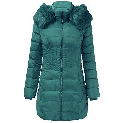KUDICO Winter Mantel Damen Fashion warme Lange Jacke Baumwolle Slim Parka Trench Outwear Sweatshirt über Tops, Angebote!(Grün, EU-36/CN-L) Damen Satin Trench