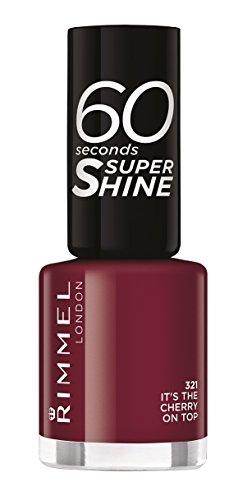 Rimmel London - 60 Seconds Supershine, Smalto per unghie ultra brillante, N. 321 It's The Cherry On Top, 8 ml