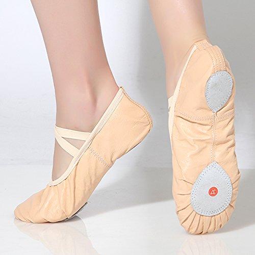 20d4eb34f5a9b Fille Cuir Ballet De Beige Danse Chaussures Gymnastique Enfant Femme Yoga Ballerines  Chaussons Dreamone Ewtqzxf5f