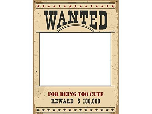 eward Poster Selfie Party Rahmen Criminal Bounty Photo Booth Größe 91,4 x 61 cm, Outlaw Western Cowboy Themen-Dekorationen Rahmen Banner ()