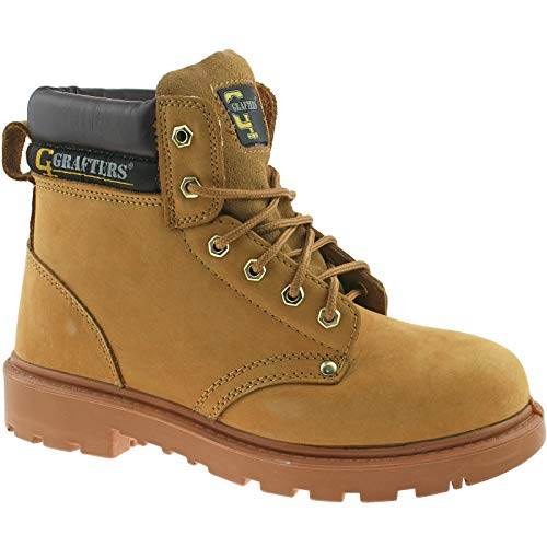 GRAFTERS STEEL TOE SAFETY WORK BOOTS SIZE UK 4 - 16 MENS HONEY NUBUCK M629 KD-UK 16 (EU 52) Mens Steel Toe Schuh