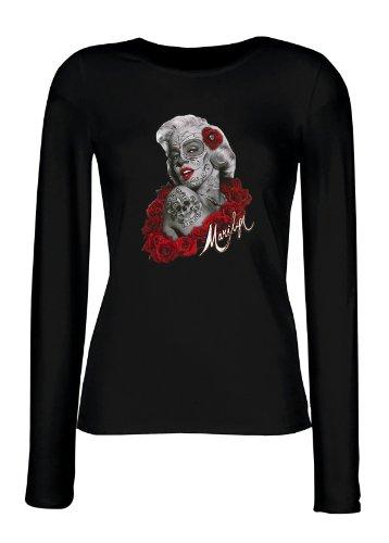 Marylin Langarm Shirt Damen de Los Muertos Tag der Toten Marilyn Monroe Tattoo Face Rote Rosen Gr. L : (De Muertos Kostüme Weibliche Dia Los)