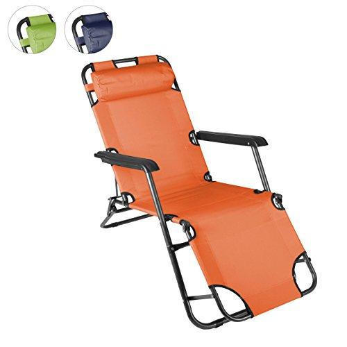 Nexos klappbare Sonnenliege Relaxliege Liegestuhl Klappliege Stahl (Orange)