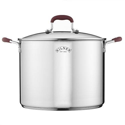 Picture of Kilner Canning Pan & Rack Set, Large Stockpot with Glass Lid, Stainless Steel, 4.3 Gallon