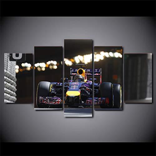 Stampato a Parete modulare per Poster a Parete HD Moderna Tela a 5 Pannelli da Corsa per Auto Sportiva Soggiorno Decorazioni per la casa Imm