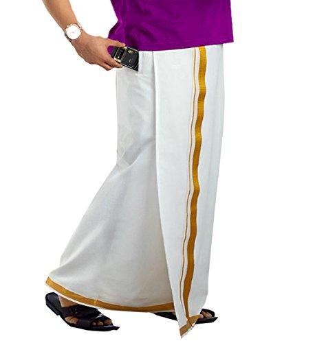 Prakasam Cotton-Premium quality (100% cotton) Mens velcro pocket dhoti/velcro pocket mundu/single pocket dhoti/Jari Cotton dhoti/Zari cotton dhoti/branded Jari cotton pocket dhoti (Hip Size 34- Length