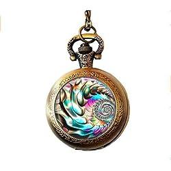 Collar con Reloj de Bolsillo Hippie Fractal