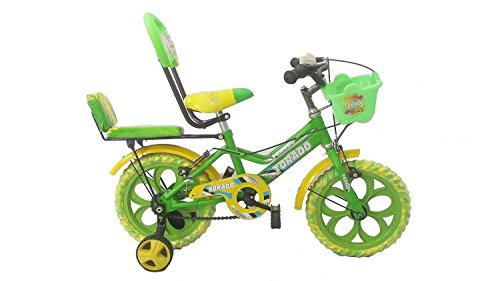 Torado Stitch Double Seat 14 Inches Bicycle for 2-5 years Boys and Girls (Green)