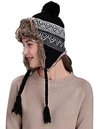 Amazon.es  gorro orejeras - Negro   Gorros de punto   Sombreros y ... a7bc40bb17c