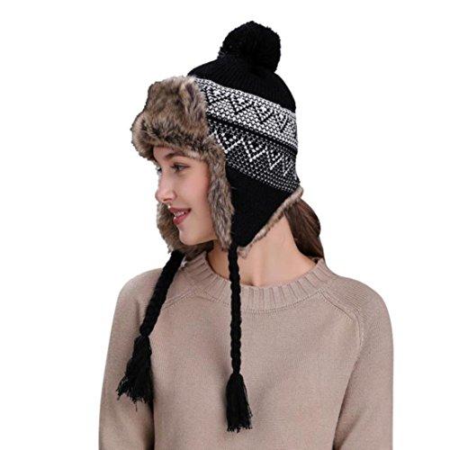 QinMM Sombrero Grueso De Lana De Mujer con Orejeras, Gorro De Gorra De Esquí CáLido Invierno Nieve Hat (Negro)