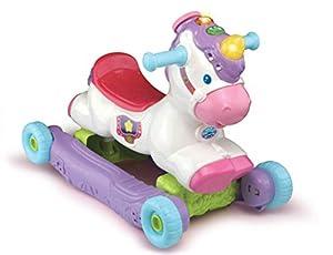 VTech Rock and Ride Unicorn Baby Ride On juguete, juguete musical interactivo para bebé con características de aprendizaje y sonido, primeros pasos para caminar para bebés y niños a partir de 18 meses