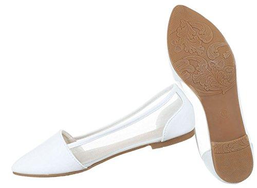 Damen Ballerinas Schuhe Loafers Slipper Slip-on Flats Pumps Schwarz Weiß 36 37 38 39 40 41 Weiß