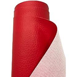 A-Express Simili cuir d'ameublement à grain Imitation Cuir Tissu texturé Vinyle Art Artisanat leathercloth Matière Vendu au mètre - Rouge 2 Mètre 200cm x 140cm