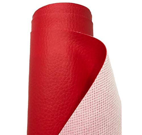 A-Express Premium gekörnt Bezugsstoff Kunstleder Polsterstoff Gekörnt Lederimitat texturiert Lederstoff Möbelstoff Meterware, 100cm x 140cm (Rot)