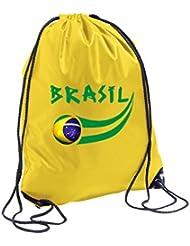 94371d6064 Supportershop Brasile-Sacca sportiva, 44 x 33 cm, colore: giallo
