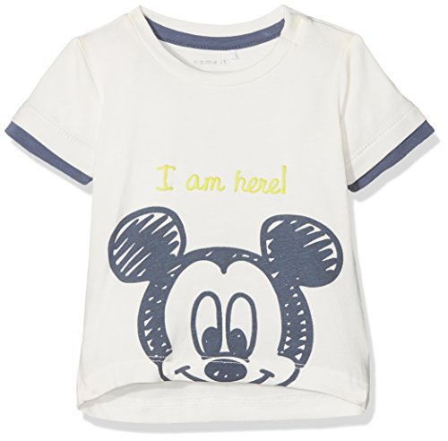 NAME IT Baby-Jungen NBMMICKEY OTTO SS TOP WDI T-Shirt, Weiß (Snow White), 68 -