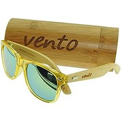Vento® modelo Chinook YellowTwice - Gafas de sol de madera de bambú, diseñadas en Italia con certificados CE y protección UV400, Marco oscuro lentes gris de policarbonato