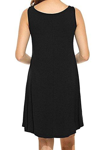 LILBETTER Frauen Rundhals Casual Loose T-Shirt Kleid 00 Schwarz