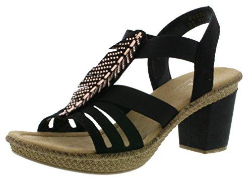 Rieker 66526 Damen Sandalen, Sandaletten, Sommerschuhe schwarz (schwarz / 00), EU 40