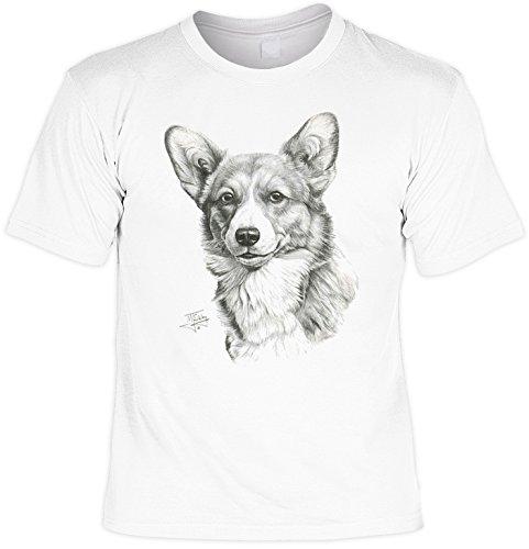 Hunde Shirt/ T-Shirt mit Dog Aufdruck: Corgi - tolles Tier-Motiv für Hundefreunde Weiß