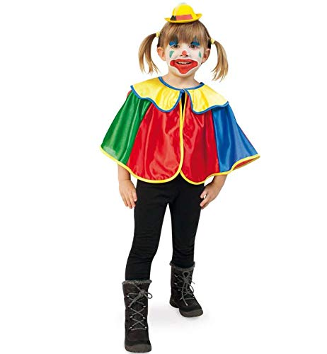 erkostüm Cape Clown Clown-Umhang 1-TLG. Clown-Cape lustiges Kostüm für Kinder Spaßvogel Zirkus (98) ()