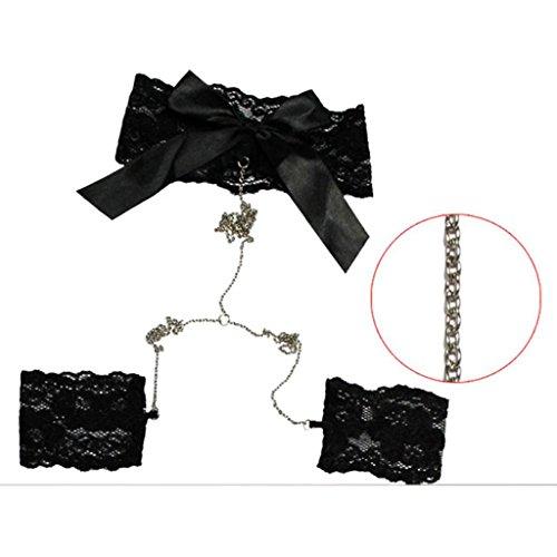 Erotische Dessous Barbarer Frauen Babydoll Nachtwäsche Schwarz Spitze BH + G String + Handschelle Schwarz