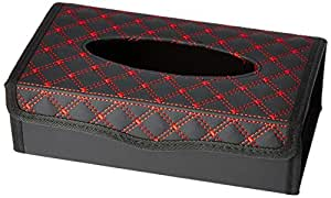 Amazon Brand - Solimo Tissue Box - Black with Red