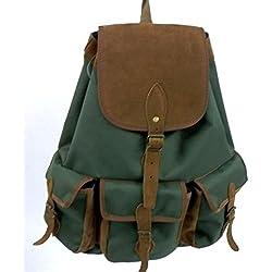 Mochila con 3 bolsillos delanteros en color verde y marrón